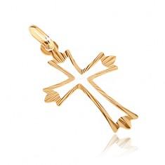 Zlatý přívěsek 585 - kříž s rozvětvenými paprskovitými cípy a výsekem GG07.11