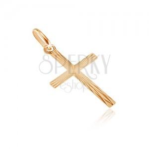 Zlatý 14K přívěsek - úzká ramena s lesklými paprsky