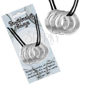 """Šňůrkový náhrdelník - tři kruhové přívěsky """"Soul, Faith, Imagine"""""""