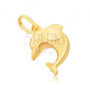 Přívěsek ze zlata 14K - velký 3D skákající delfín s ploutvemi