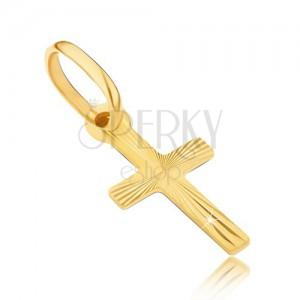 Zlatý přívěsek 585 - křížek s lesklými paprsky na povrchu