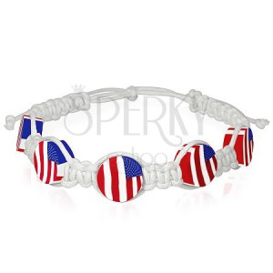 Pletený šňůrkový náramek na ruku, bílé barvy - vlajka USA