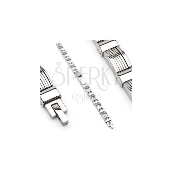 Náramek z chirurgické oceli s vrstvenými plnými oblouky