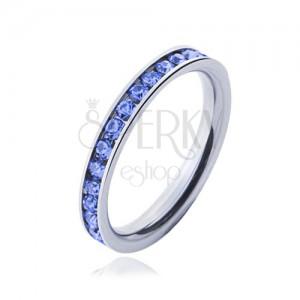 Prsten z chirurgické oceli - světle modré kamínky