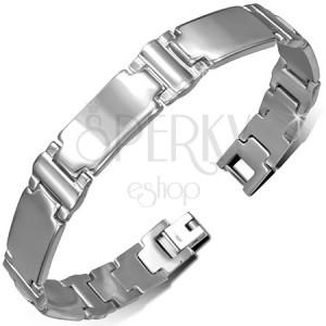 Ocelový náramek na ruku - stříbrný, podlouhlé hladké články, písmeno I