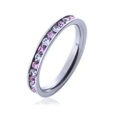 Ocelový prsten s kamínky růžové a čiré barvy J7.11
