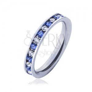 Ocelový prsten - světle modré a čiré kamínky