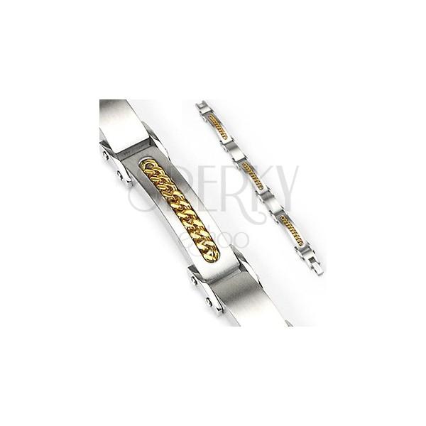 Náramek z chirurgické oceli se zlatým řetízkem