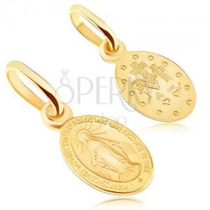 Přívěsek ze zlata 14K - oboustranný medailonek s Pannou Marií