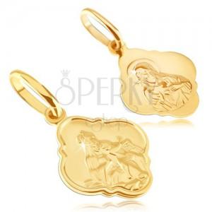 Přívěsek ze 14K zlata - matný medailon s Kristem a Madonou