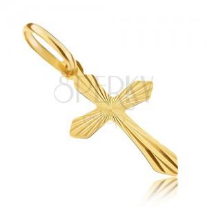 Přívěsek ve žlutém 14K zlatě - křížek s ostrými rameny a paprsky