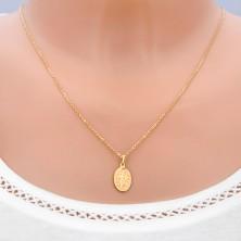 Zlatý přívěsek 585 - oválná známka se symboly Panny Marie