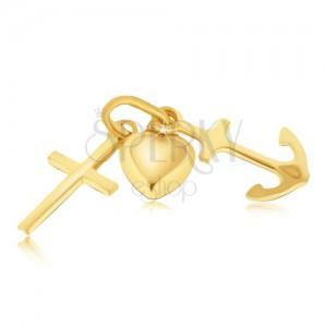 Multipřívěsek ze zlata 14K - vypouklé srdce, kotva a křížek