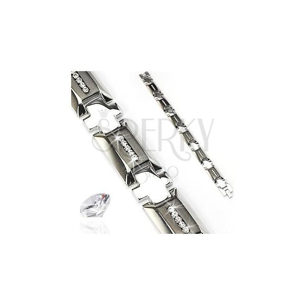 Náramek z chirurgické oceli s křížkem a zirkony