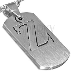 """Přívěsek z oceli - známka s písmenem """"Z"""", dvoudílná"""