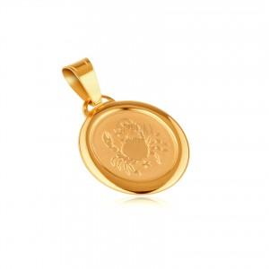 Zlatý 14K přívěsek - matný ovál s lesklým rámem a znamením RAK