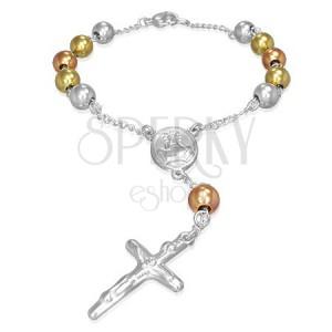 Trojbarevný náramek na ruku - kuličky, medailon, kříž