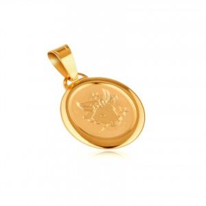Zlatý oválný přívěsek 585 - známka v rámu se znamením BÝK