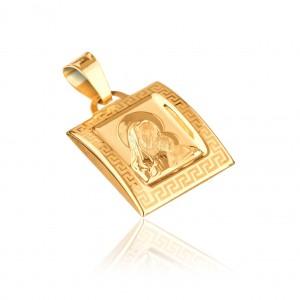 Přívěsek ze zlata 14K - Madonna ve vypuklé tabulce s řeckým klíčem