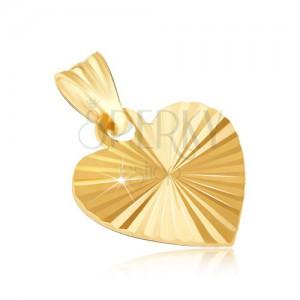 Přívěsek ze zlata 14K - ploché lesklé srdce s paprskovitými záhyby