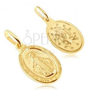 Přívěsek ze zlata 14K - oválný medailon Panny Marie