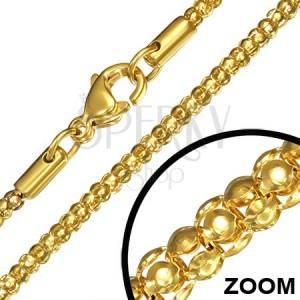 Řetízek z chirurgické oceli, zlatá barva, hadí vzor