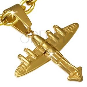 Ocelový přívěsek - 3D letadlo zlaté barvy