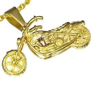 Přívěsek z oceli zlaté barvy, 3D motorka
