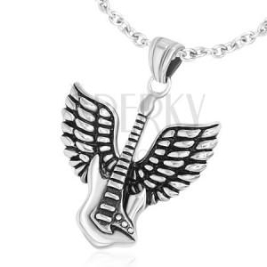 Přívěsek z chirurgické oceli, elektrická kytara s křídly