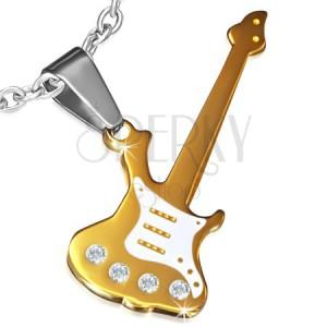 Ocelový přívěsek zlaté barvy, elektrická kytara zdobená zirkony