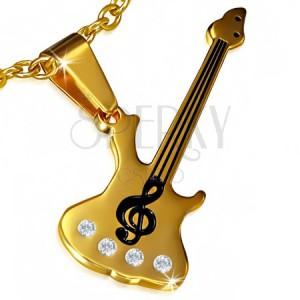Ocelový přívěsek - zlatá kytara, houslový klíč, čiré kamínky