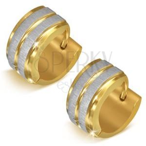 Ocelové náušnice zlaté barvy se stříbrnými pásy - kruhové