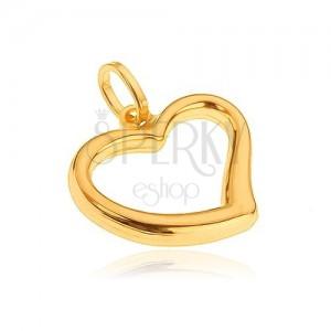 Přívěsek ze zlata 14K - nepravidelný obrys velkého srdce