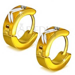 Kruhové ocelové náušnice zlaté barvy, diagonální zářezy