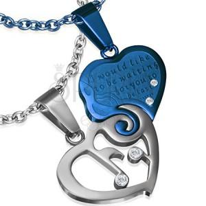 Dvoudílný přívěsek z oceli - stříbrné a modré srdce