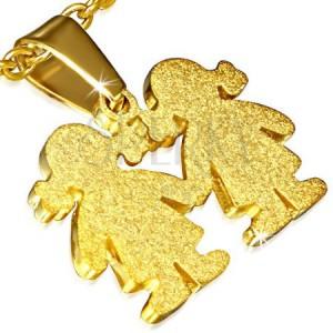 Přívěsek zlaté barvy - ocelový, pískovaný, dvě děvčátka