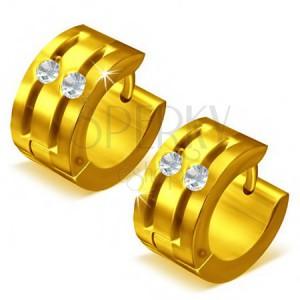 Kruhové ocelové náušnice - zlaté, dvě rýhy zdobené zirkony