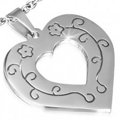 Přívěsek z chirurgické oceli - obrys srdce, vyřezávané květy