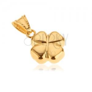 Přívěsek ze 14K zlata - lesklý vypouklý 3D čtyřlístek