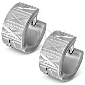 "Kruhové náušnice z oceli - zářezy ""X"" a rovné linie"