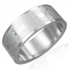 Prsten z oceli 316L s lesklo-matným povrchem - motiv broučků, 8 mm