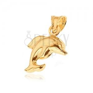 Zlatý přívěsek 585 - matný skákající delfín
