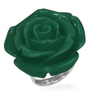 Prsten z chirurgické oceli - zelená růže, pryskyřice