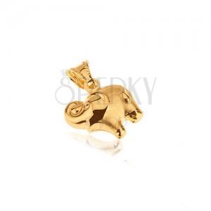 Zlatý přívěsek 585 - plastický sloník, zakroucený chobot nahoru