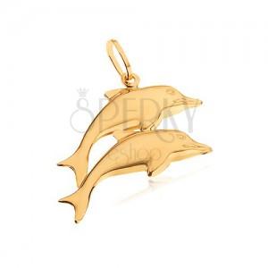 Zlatý přívěsek 585 - dva zrcadlově lesklí vyskakující delfíni