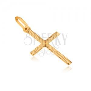 Přívěsek ze zlata 14K - plochý latinský kříž, paprskovité rýhování ze středu