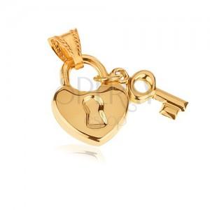 Zlatý přívěsek 585 - lesklý srdíčkový zámek s klíčkem