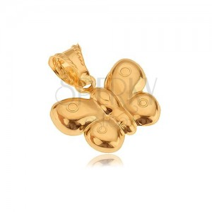 Přívěsek ze zlata 14K, trojrozměrný motýl, lesklý povrch