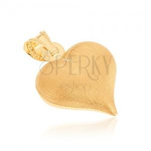 Zlatý 14K přívěsek - souměrné srdíčko se saténovým povrchem