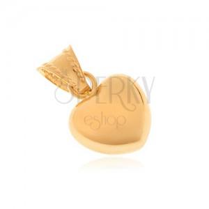 Přívěsek ze zlata 14K - symetrické srdce, zrcadlově lesklý povrch